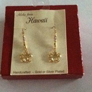 Jewelry - *FIRM* Gold tone plumeria earrings from Hawaii.